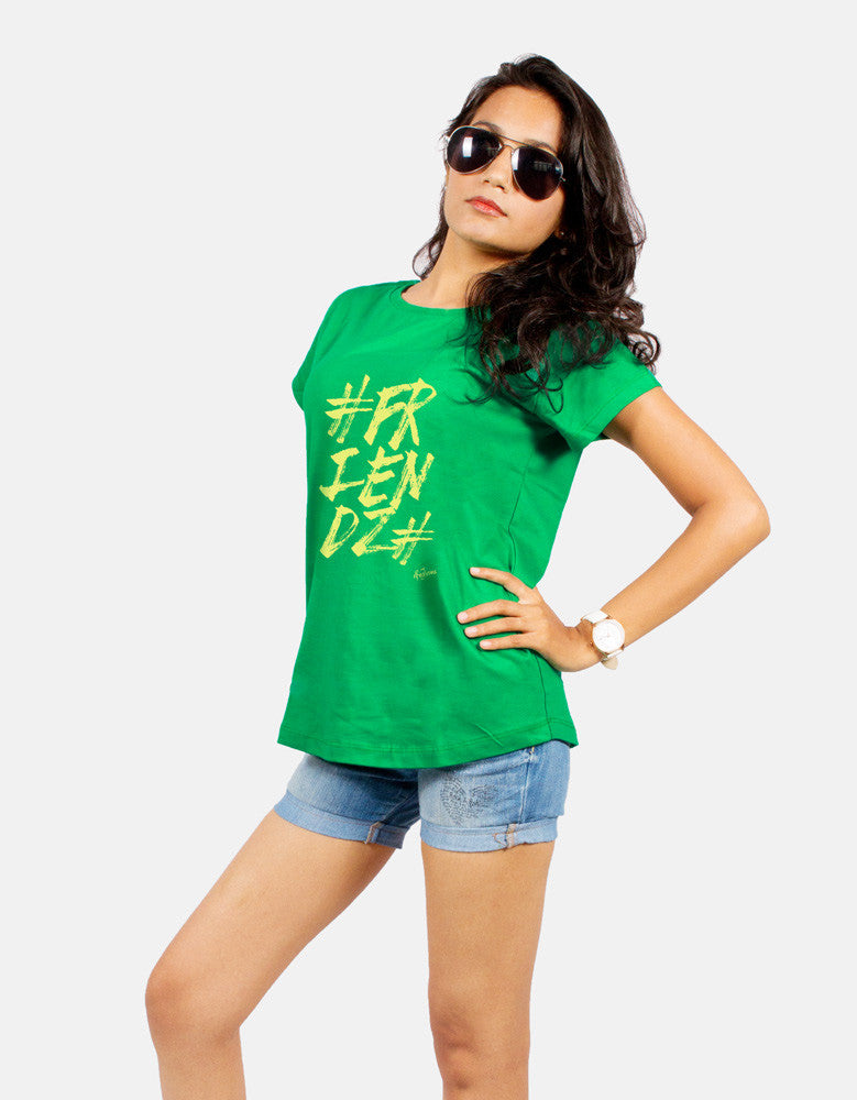 Friendz - Green Women's Random Short Sleeve Graphic T Shirt Model Half Front View