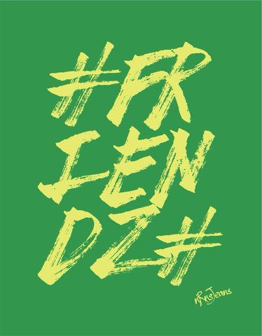 Friendz - Green Women's Random Short Sleeve Graphic T Shirt Design View