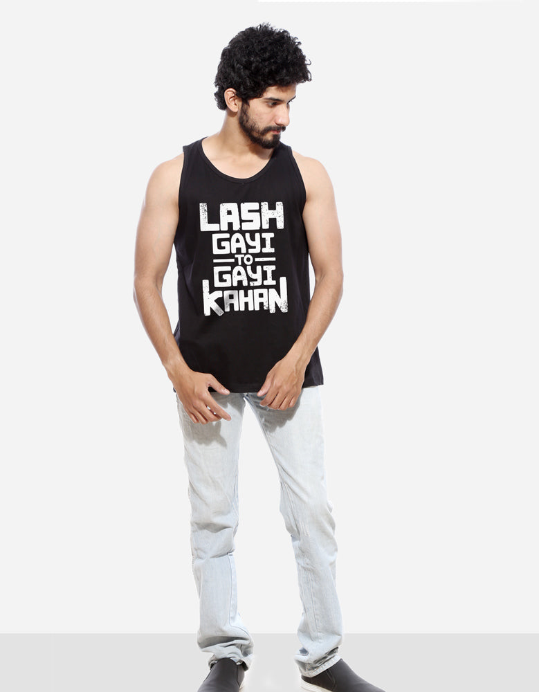 Lash - Black Men's Sleeveless CID Graphic Vest Model Full Front