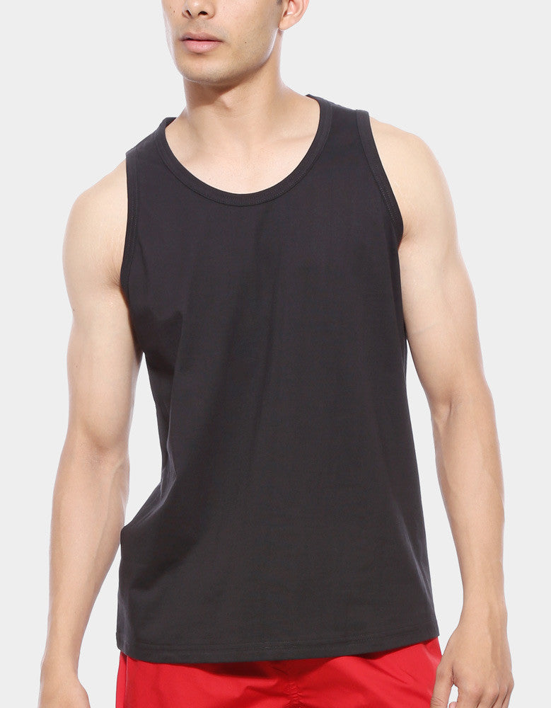 Black - Men's Plain Sleeveless Vest Model Close-Up View