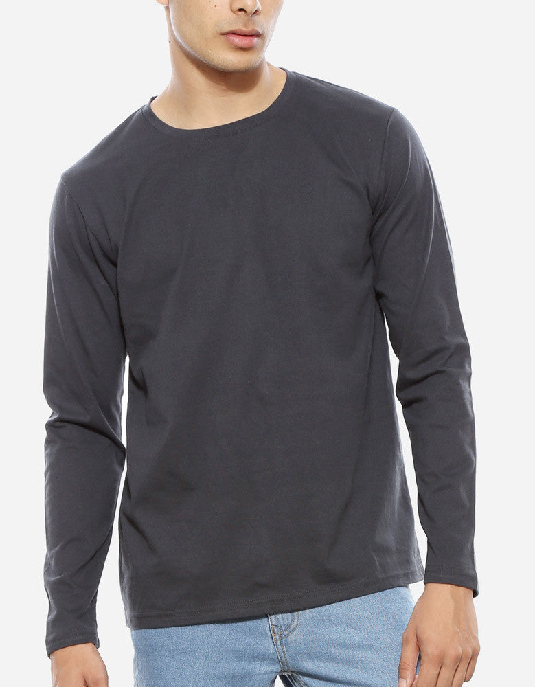 Charcoal Grey - Men's Plain Full Sleeve Casual T Shirt Model Front Close-Up View