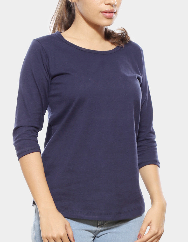 Navy Blue - Women's Plain 3/4 Sleeve T Shirt Model Front Half View
