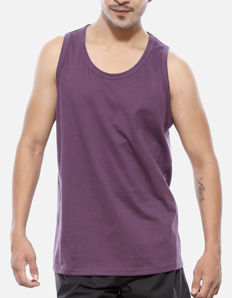 Purple - Men's Plain Sleeveless Vest Model Front Half View