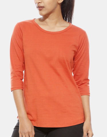 Rust Orange - Women's Plain 3/4 Sleeve T Shirt Model Front Half View