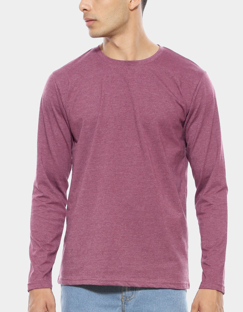 Maroon Red Melange - Men's Plain Full Sleeve Casual T Shirt Model Close-Up View