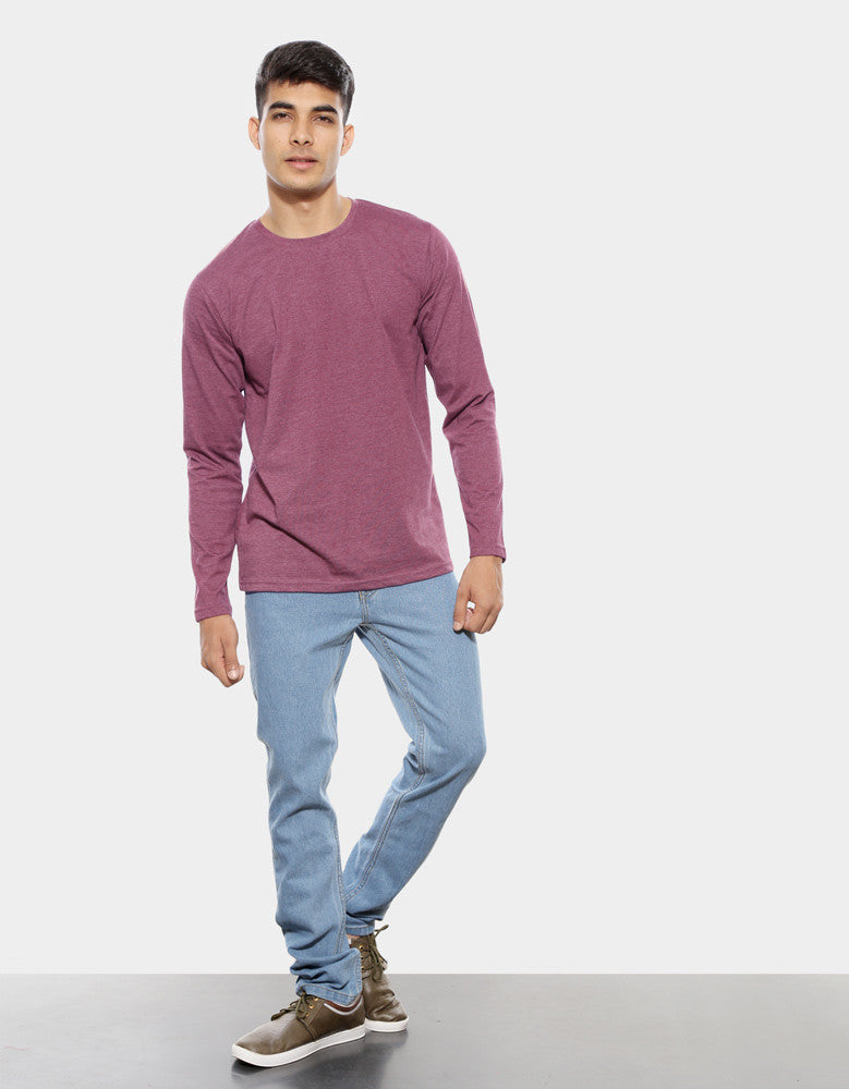 Maroon Melange - Men's Plain Full Sleeve Casual T Shirt Model Full Front View