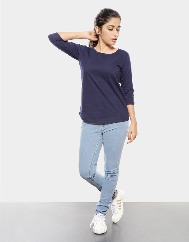 Navy Blue - Women's Plain 3/4 Sleeve T Shirt Model Full Front View