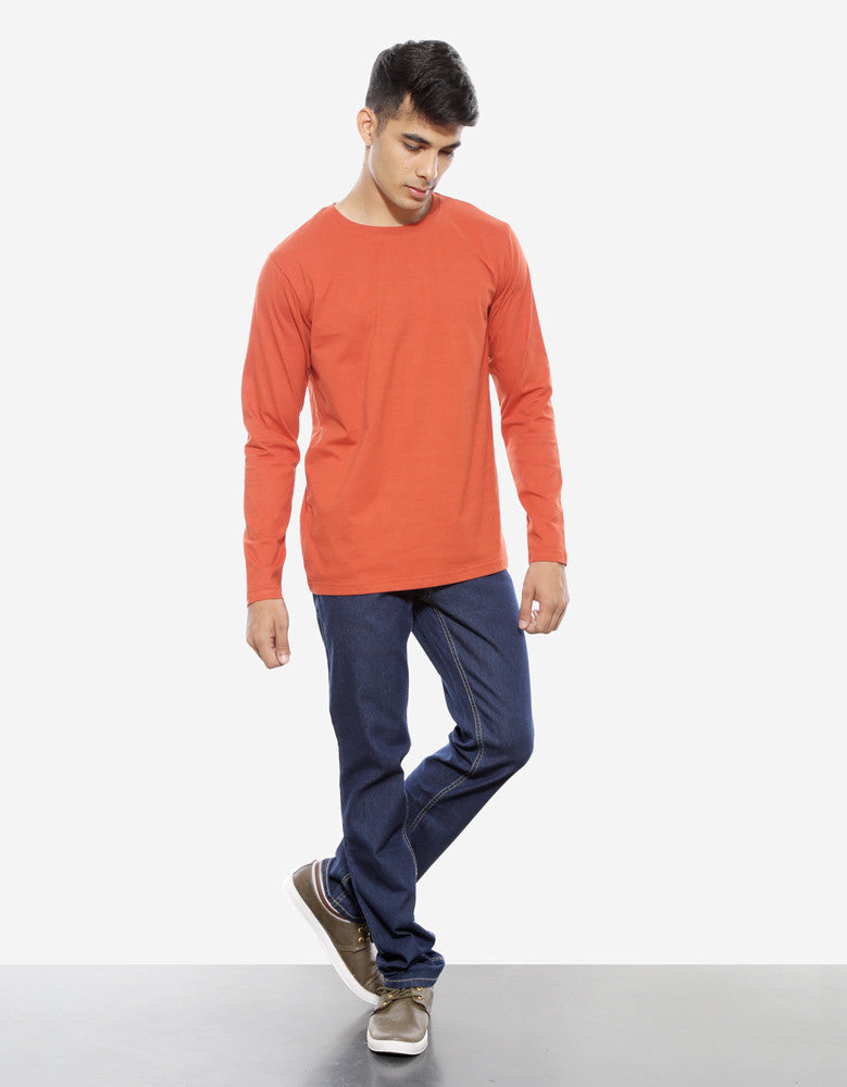 Rust Orange - Men's Plain Full Sleeve Casual T Shirt Model Full Front View