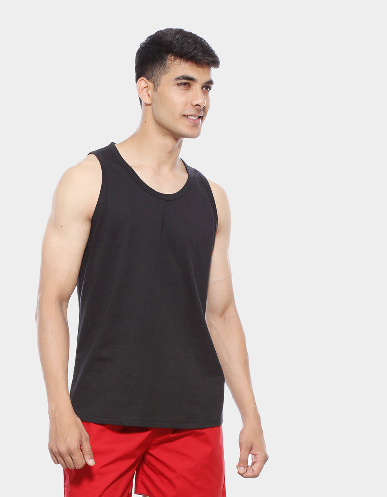 Black - Men's Plain Sleeveless Vest Model Front Half View