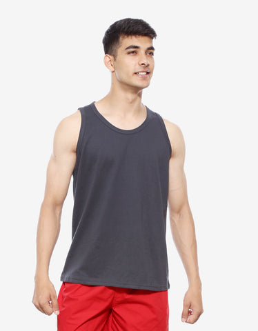 Charcoal Grey - Men's Plain Sleeveless Vest Model Front view