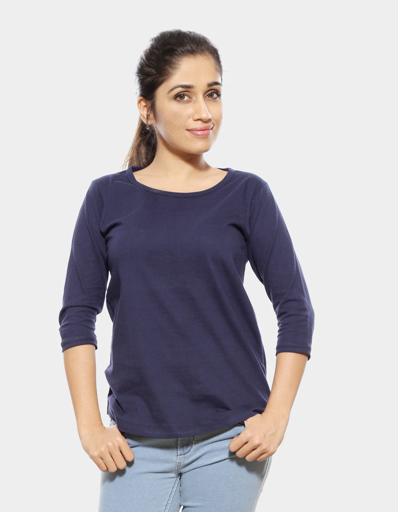 Navy Blue - Women's Plain 3/4 Sleeve T Shirt Model Front View