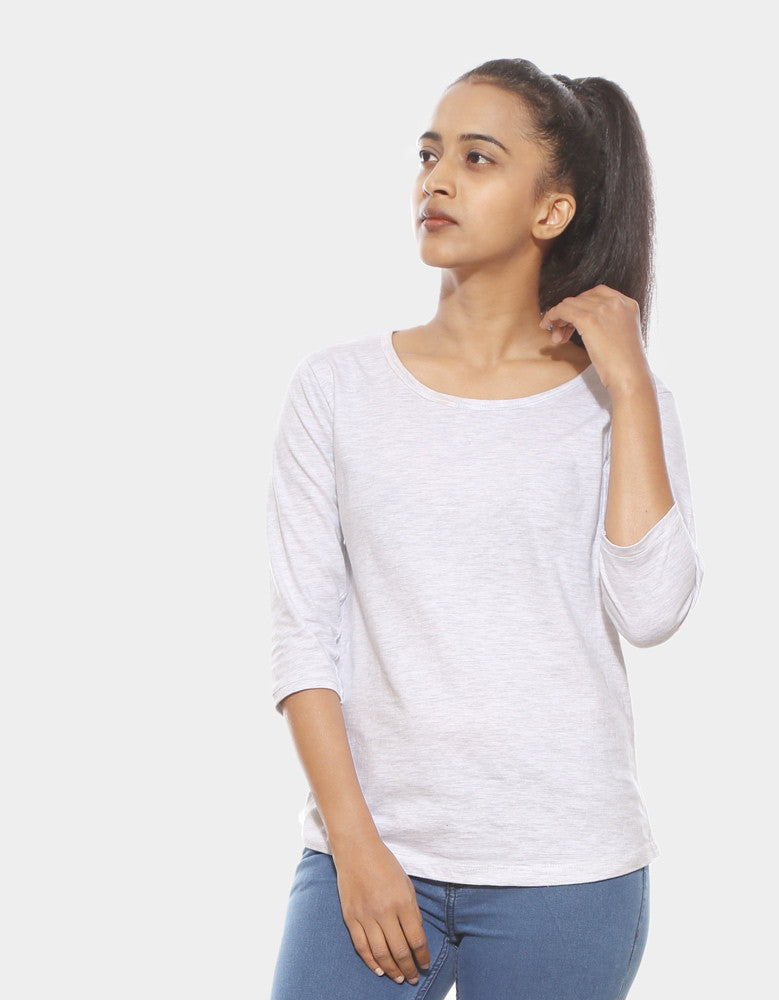 Melange White - Women's Plain 3/4 Sleeve T Shirt Model Front View