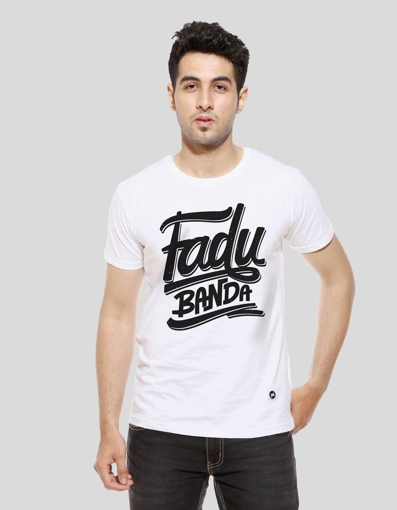Fadu Banda - White Men's Half Sleeve Cool T Shirt Model Front View