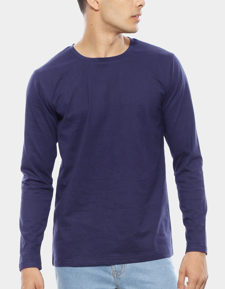 Navy Blue - Men's Plain Full Sleeve Casual T Shirt Model Close-Up View