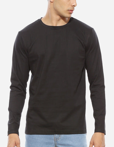 Black - Men's Plain Full Sleeve Casual T Shirt Model Close-Up View