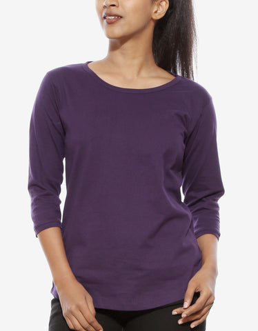 Brinjal - Women's Plain 3/4 Sleeve T Shirt Model Front Half View