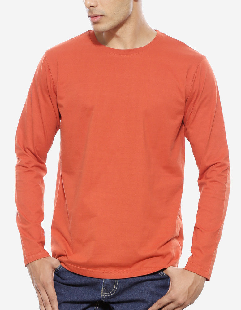 Rust Orange - Men's Plain Full Sleeve Casual T Shirt Model Close-Up View