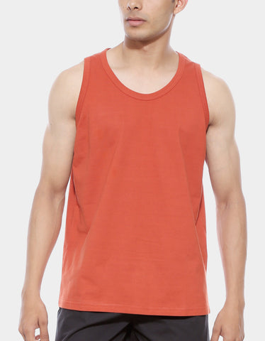 Rust Orange - Men's Plain Sleeveless Vest Model Close-Up View