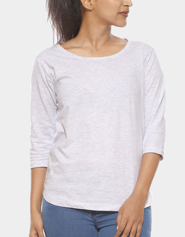 Melange White - Women's Plain 3/4 Sleeve T Shirt Model Front Half View