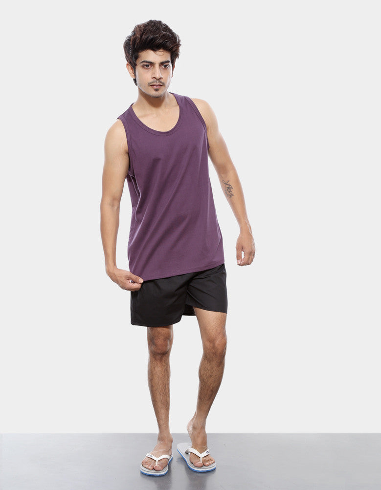 Purple - Men's Plain Sleeveless Vest Model Full Front View