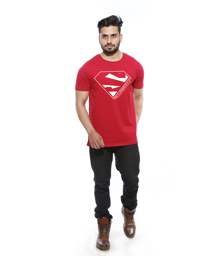 Superhero - Berry Red Men's Superhero Sleeveless Trendy T Shirt  Model Full Front View