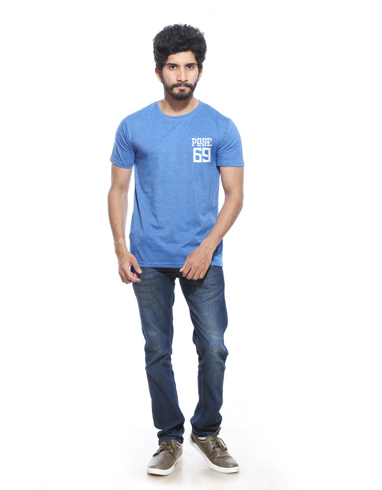 Pose 69 - Blue Melange Men's Half Sleeve Pocket Print T Shirt Model Full Front View