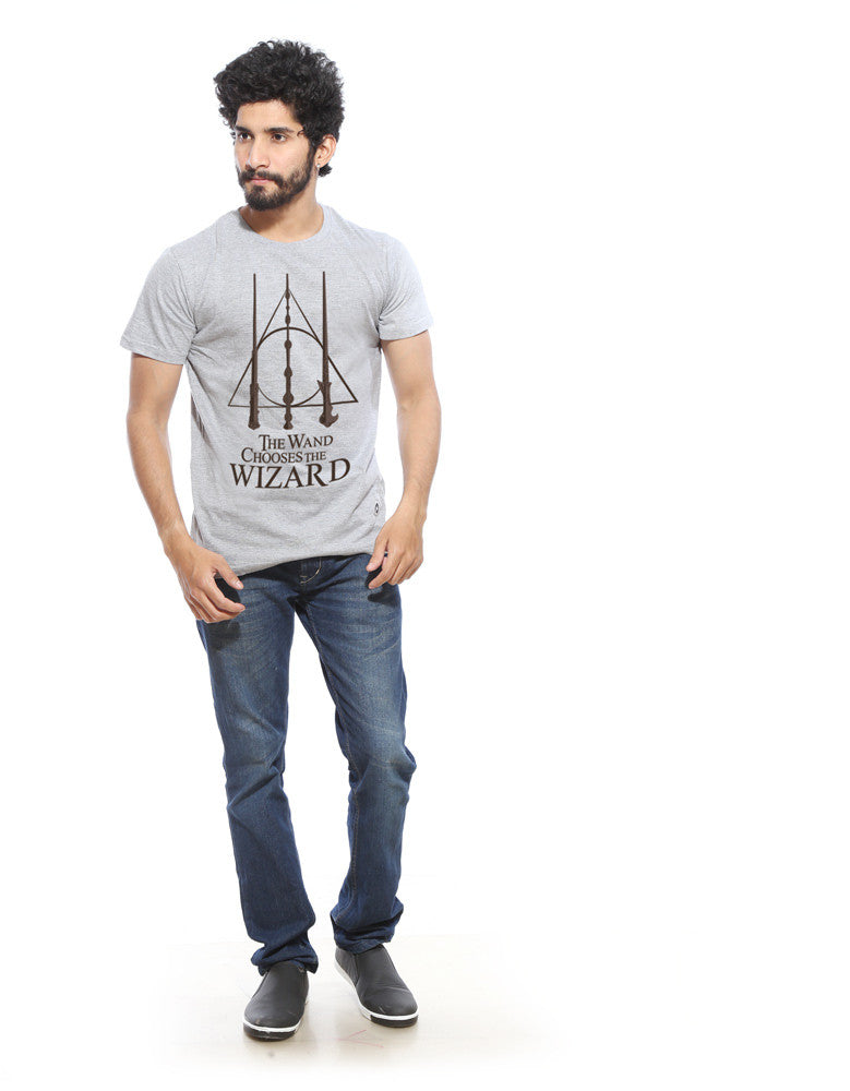 Wand Chooses Wizard -  Grey Men's Superhero Half Sleeve  Graphic T Shirt (Model full front view)