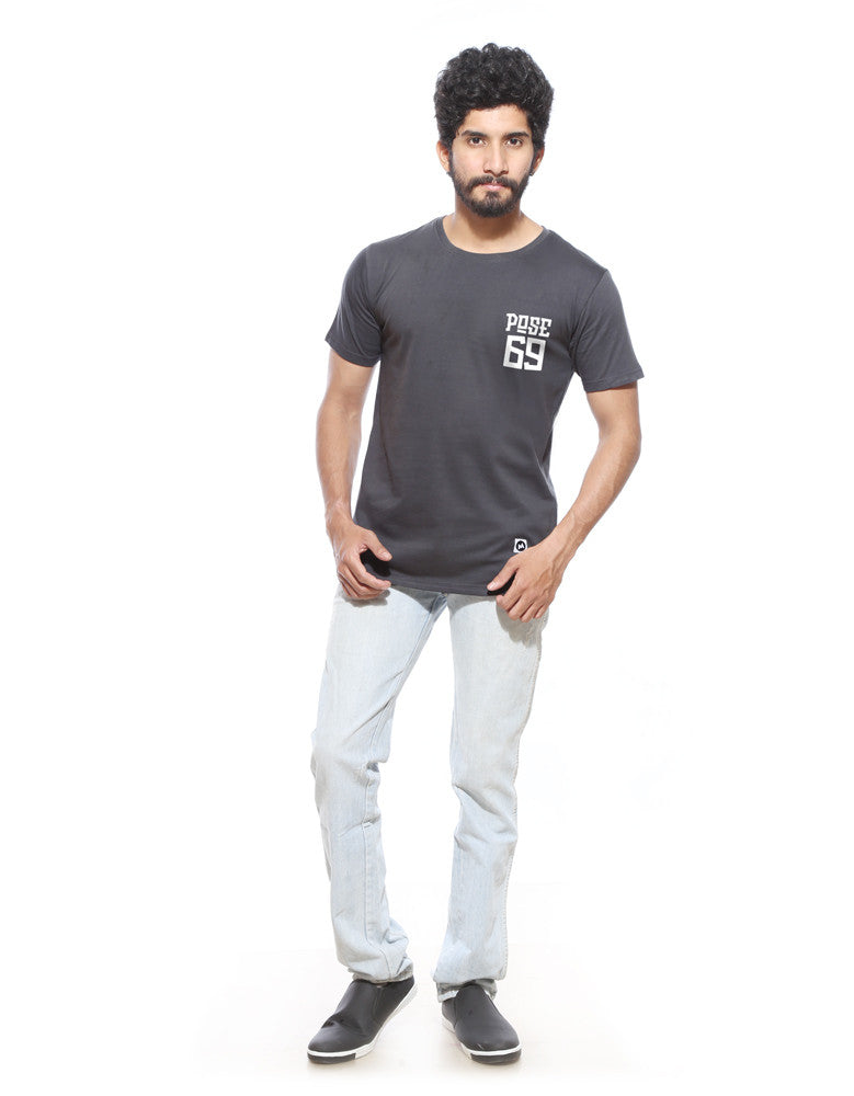 Pose 69 - Charcoal Grey Men's Half Sleeve Pocket Print T Shirt Model Full Front view