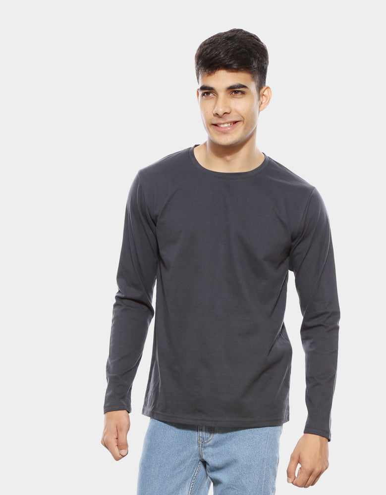 Charcoal Grey - Men's Plain Full Sleeve Casual T Shirt Model Front View