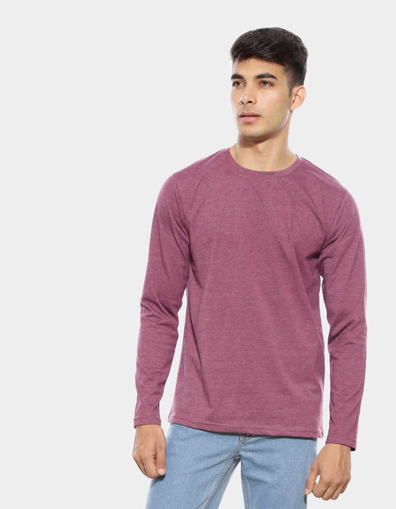 Maroon Melange - Men's Plain Full Sleeve Casual T Shirt Model Front View