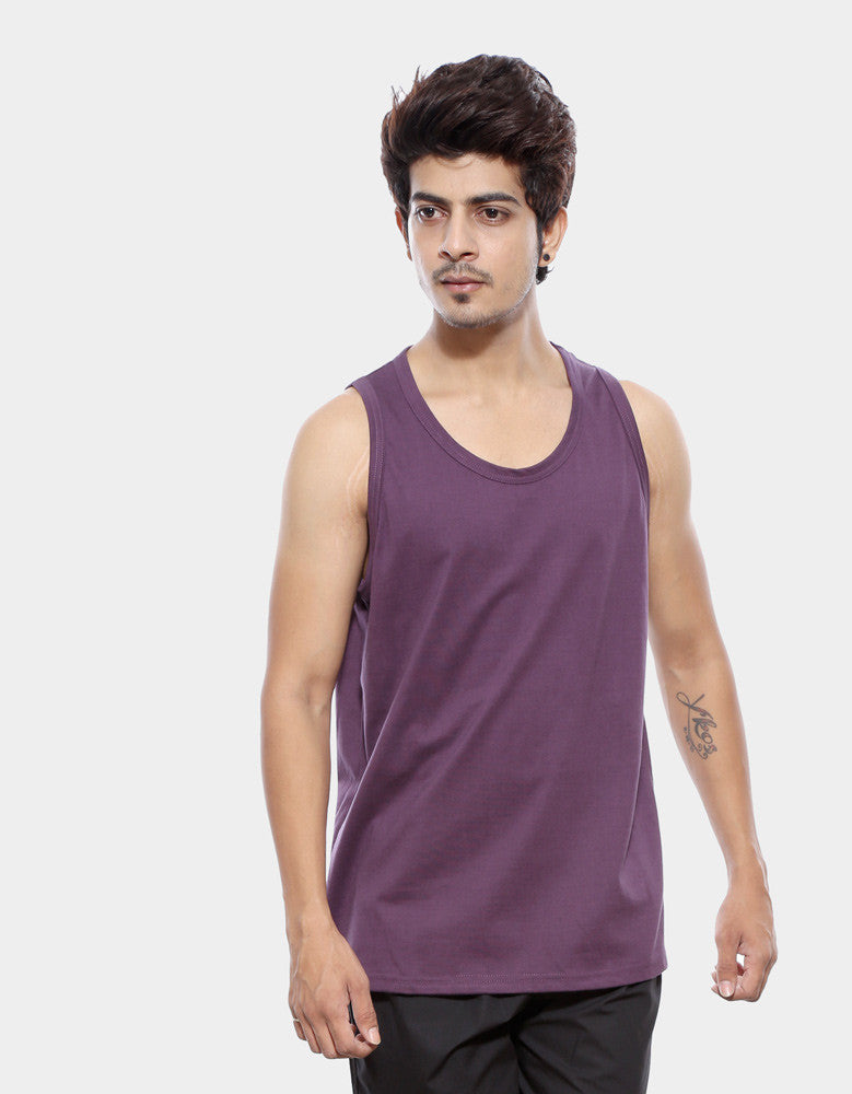 Purple - Men's Plain Sleeveless Vest Model Front View