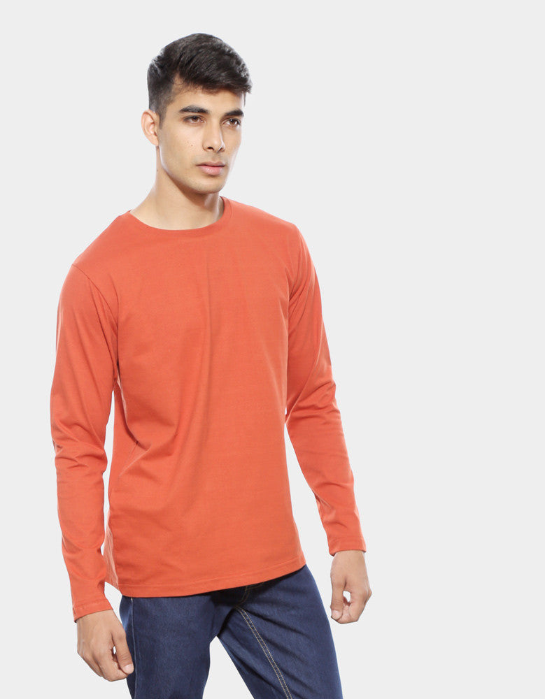 Rust Orange - Men's Plain Full Sleeve Casual T Shirt Model Half View