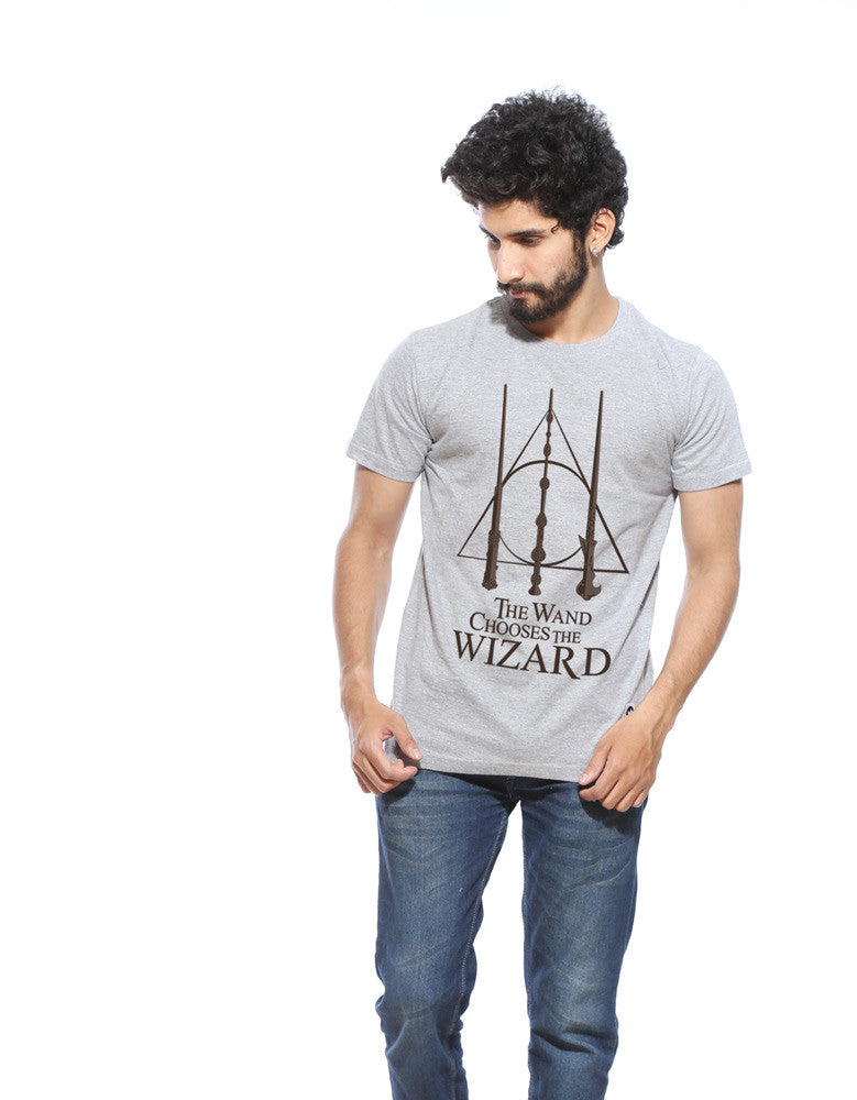 Wand Chooses Wizard -  Grey Men's Superhero Half Sleeve  Graphic T Shirt (Model front view)