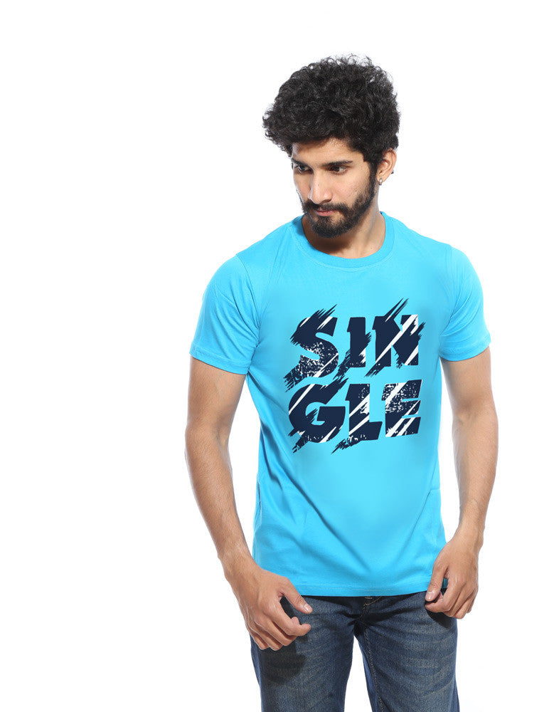 Single - Vivid Cyan Men's Half Sleeve Printed T Shirt Model Front View