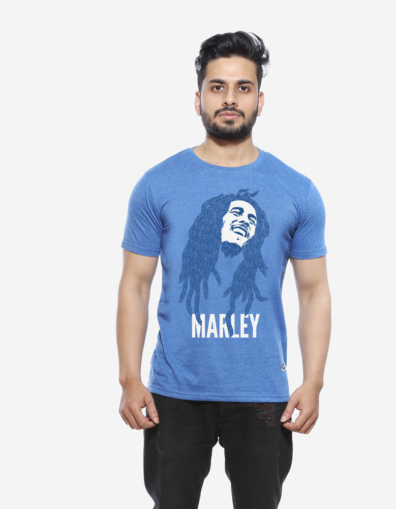 Marley - Blue Melange Men's Stoner Half Sleeve Designer T Shirt Model Front View