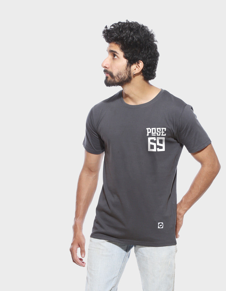 Pose 69 - Charcoal Grey Men's Half Sleeve Pocket Print T Shirt Model Front View