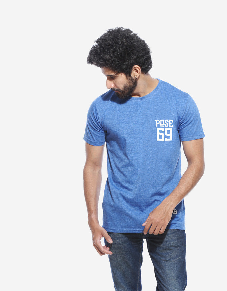 Pose 69 - Blue Melange Men's Half Sleeve Pocket Print T Shirt Model Front View