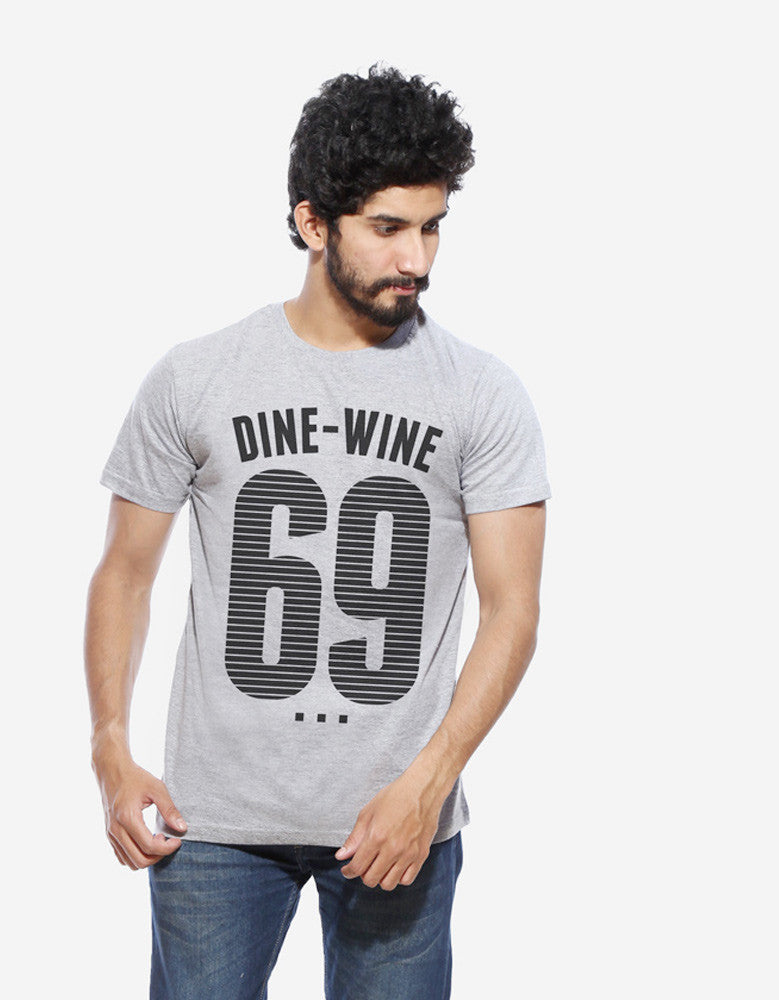 Dine Wine - Grey Men's Half Sleeve Graphic T Shirt Model Front view