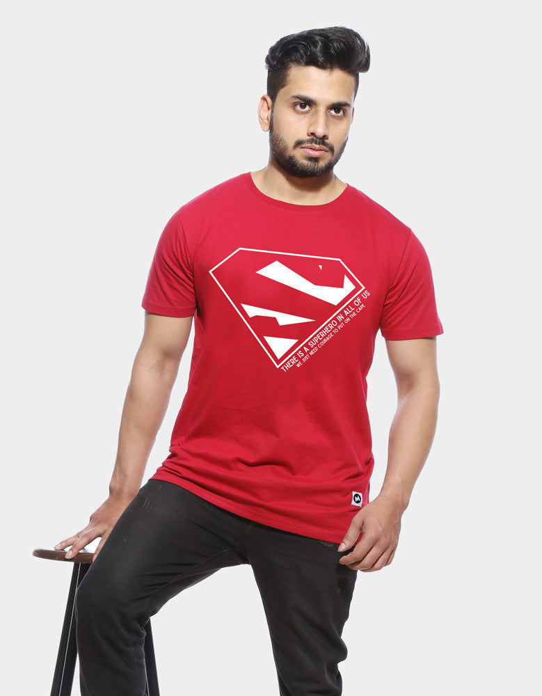 Superhero - Berry Red Men's Superhero Sleeveless Trendy T Shirt  Model Front View