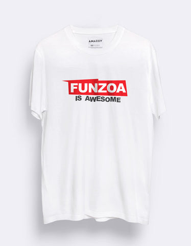 2e0df830f00 Funzoa is awesome Men s white Graphic T Shirt by AMAZZY