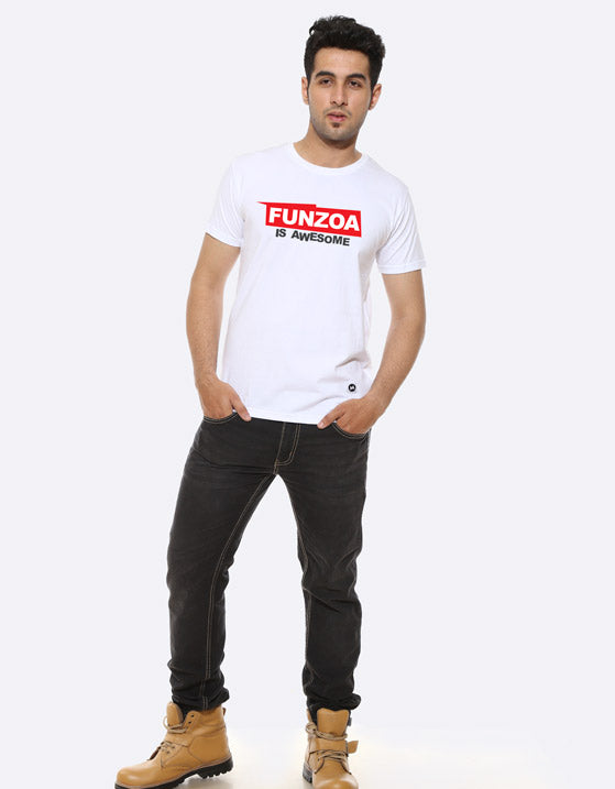 Funzoa is awesome Men's white Graphic T Shirt by AMAZZY