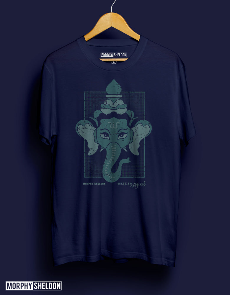 Ganesha Navy Blue Men's Graphic Print T-Shirt