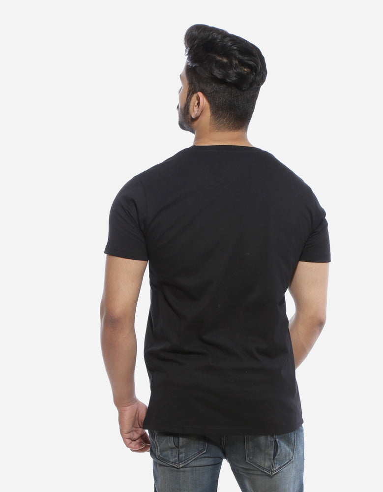 Get Some Joints - Black Funky Men's Half Sleeve T Shirt Model Back View