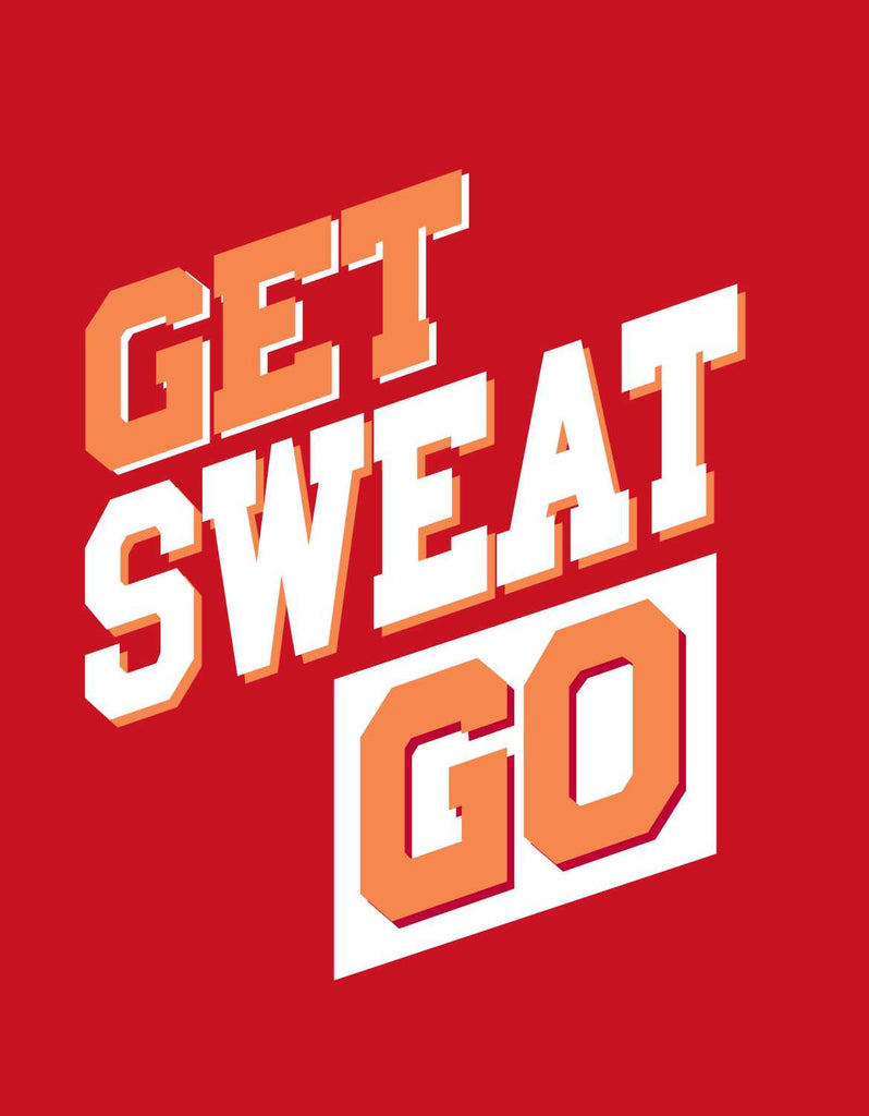 Get Sweat Go - Red Men's Gym Sleeveless Graphic Vest Design View