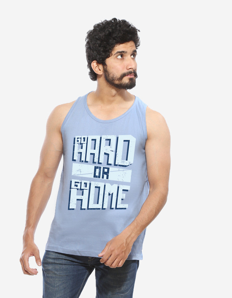 Go Hard Or Go Home - Yale Men's Blue Gym Sleeveless Graphic Vest Model Front View