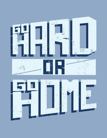 Go Hard Or Go Home - Yale Men's Blue Gym Sleeveless Graphic Vest Design View