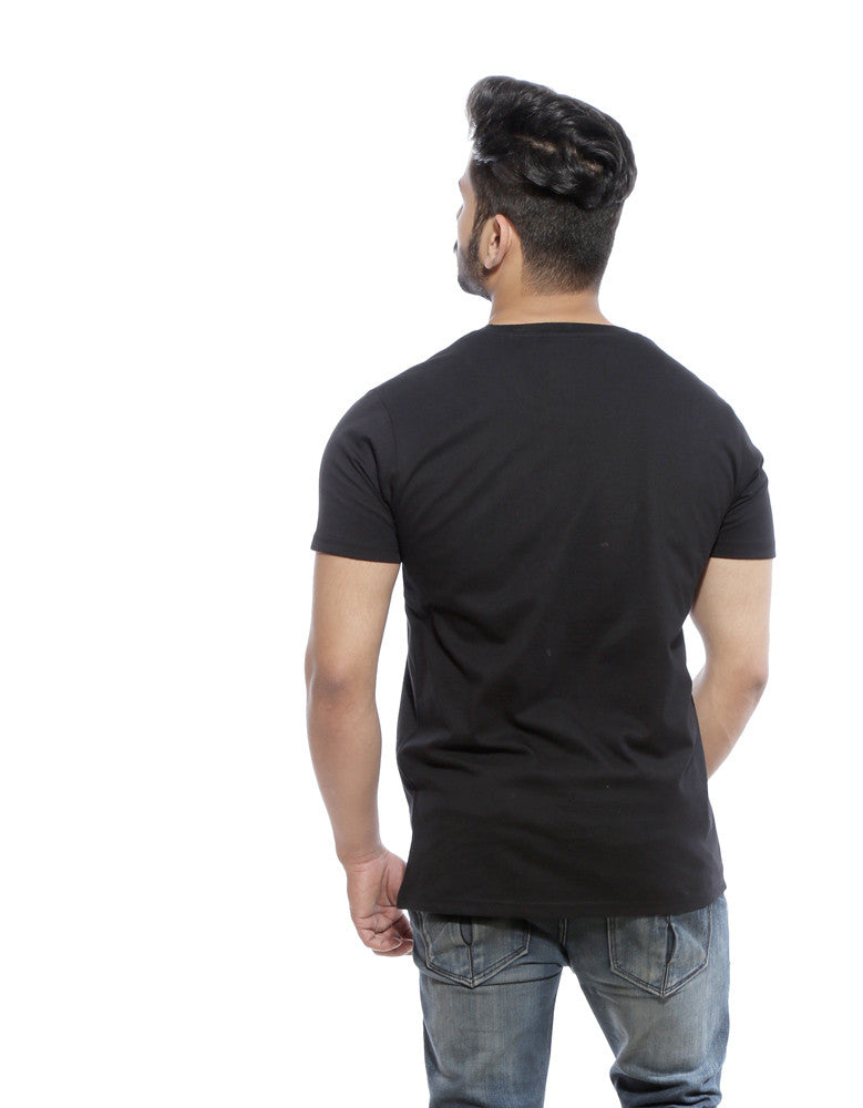 Good Beer - Black Men's Beer Half Sleeve Graphic T Shirt Model Back View