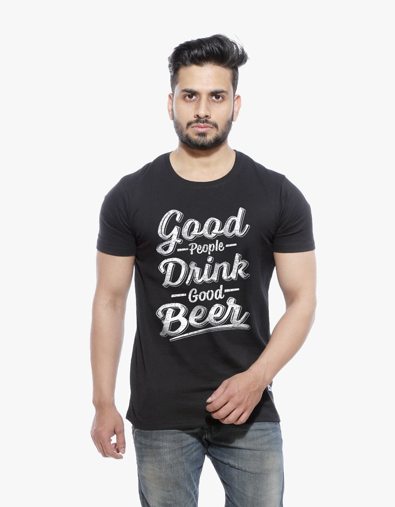 Good Beer - Black Men's Beer Half Sleeve Graphic T Shirt Model Front View