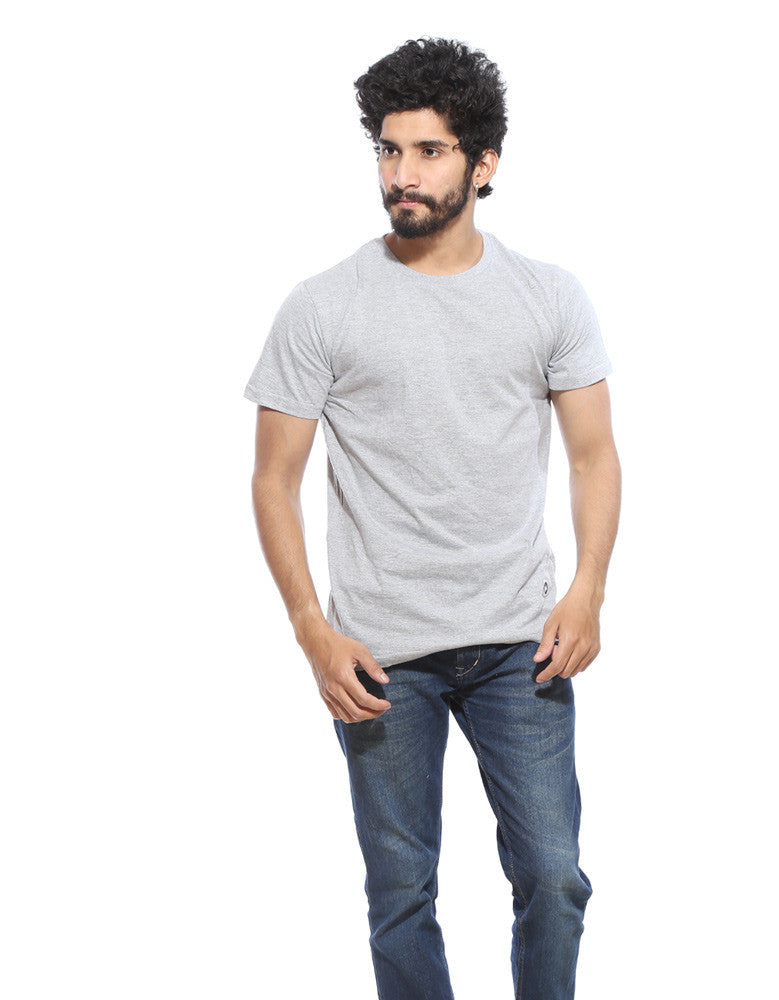 Grey Melange - Men's Plain Half Sleeve T Shirt