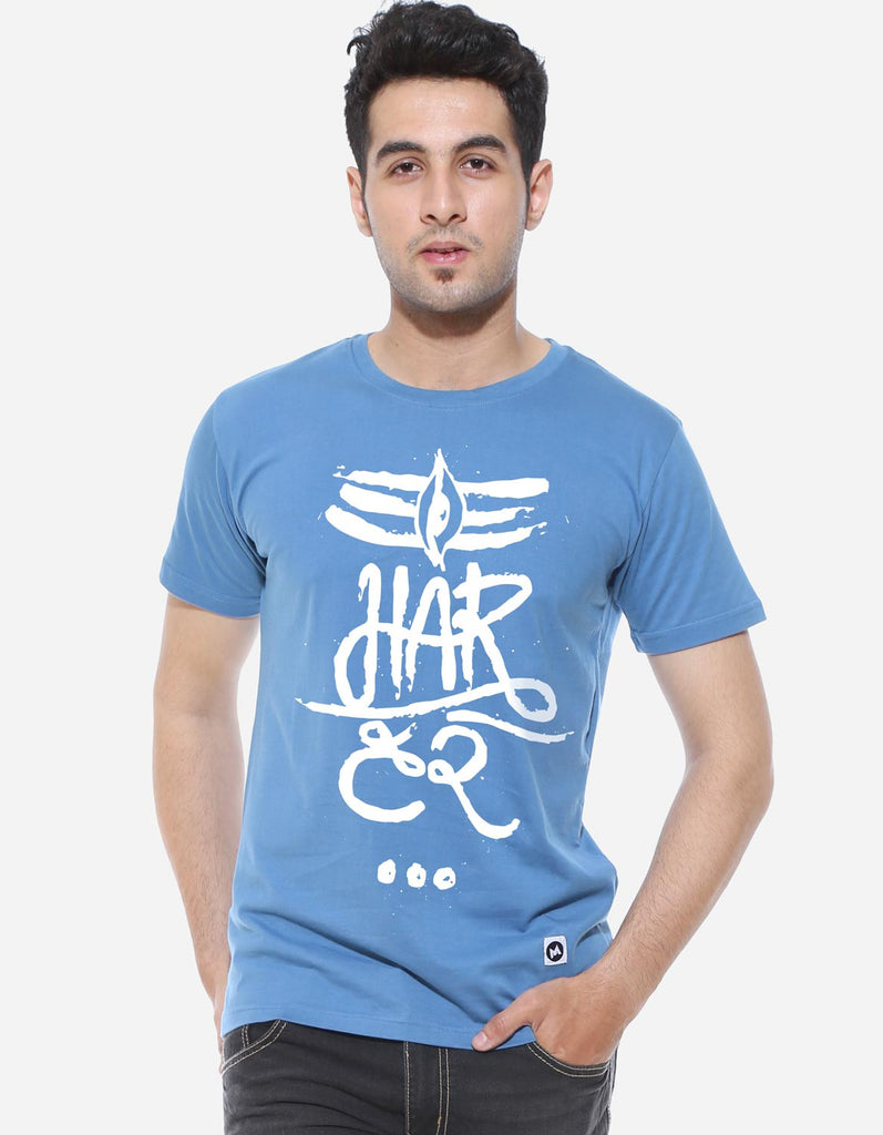 Har Har - Dark Shadow Blue Men's Half Sleeve Trendy T Shirt Model Front View